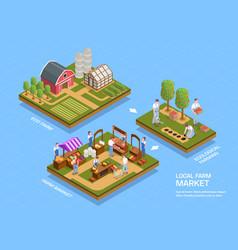 Farmers market isometric concept vector