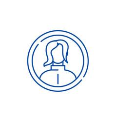 female profile line icon concept female profile vector image