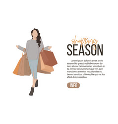 flat girl on shopping young vector image