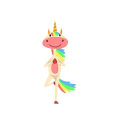 funny unicorn in tree position fantasy beautiful vector image