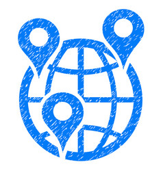 Global company branches icon grunge watermark vector