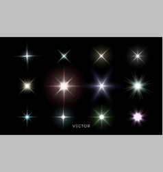 Glowing star lights effect lens flare and bright vector