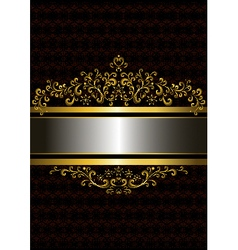 Gold frame in the old style with the frizzy forms vector