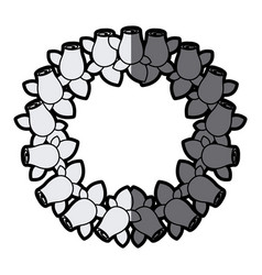 Gray scale silhouette crown drawing rosebuds with vector