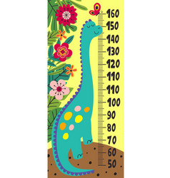 Growth measure with cute dinosaur vector