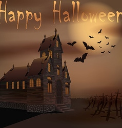 Halloween creepy house with bats near cemetery vector