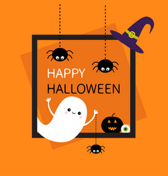 Happy halloween square frame flying ghost three vector