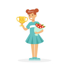 Happy school girl holding winner cup and bouquet vector