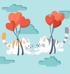 happy valentines day couple cat flying with a vector image