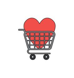 Icon concept heart inside shopping cart vector