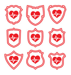 icons protect your heart symbols vector image