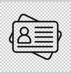 id card icon in transparent style identity tag on vector image