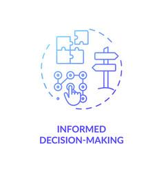 informed decision making blue gradient concept vector image