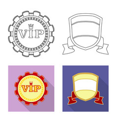Isolated object emblem and badge sign set of vector