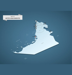 isometric 3d united arab emirates map concept vector image
