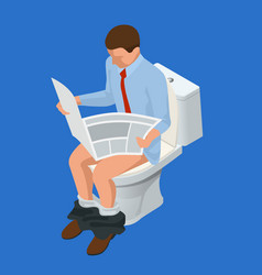 Isometric man reading a newspaper seated on a vector