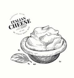 italian mascarpone hand drawn dairy engraved vector image