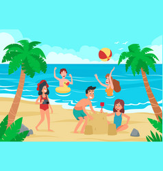 kids beach happy children fun on sea shore sand vector image