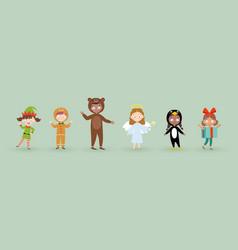 kids wearing christmas costumes vector image