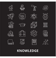 knowledge editable line icons set on black vector image