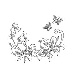 line art decorative bell composition vector image