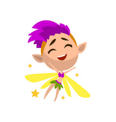 Little winged elf girl with purple hair cute vector