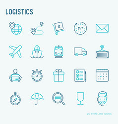 Logistics thin line icons set vector