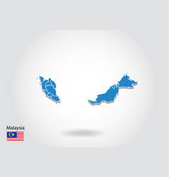 malaysia map design with 3d style blue malaysia vector image