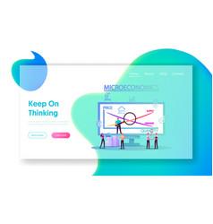 Microeconomics landing page template tiny vector