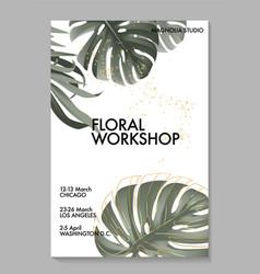 Monstera palm leaver safari tropical design khaki vector