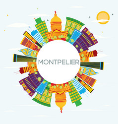 Montpelier skyline with color buildings blue sky vector
