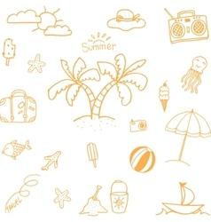 Orange Summer doodles vector