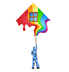Painter with roller paints house vector