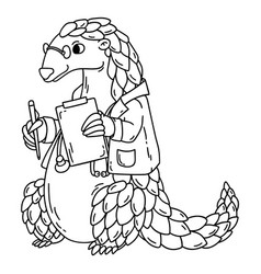 pangolin the doctor coloring book vector image