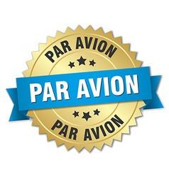 Par avion 3d gold badge with blue ribbon vector