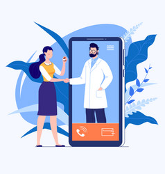 Phone video call to doctor vector