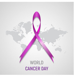 pink ribbon on grey world map vector image