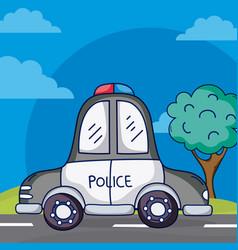 Police car on street vector