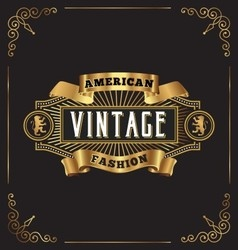 Premium golden vintage frame label design vector