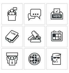 Presidential candidate and elections icons set vector image