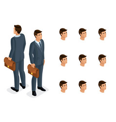 quality isometry 3d is a solid businessman vector image