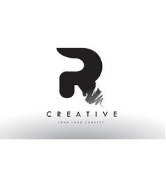 R brushed letter logo black brush letters design vector