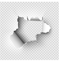 ragged hole torn in ripped paper on transparent vector image