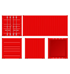 Red shipping container set vector