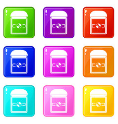 ring in a velvet box icons 9 set vector image