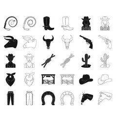 Rodeo competition blackoutline icons in set vector