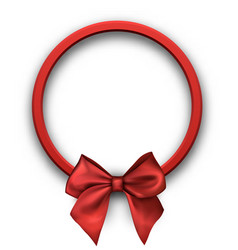 Round holiday background with red bow vector