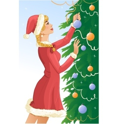 Santa girl decorates a christams tree with balls vector image