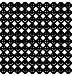 Seamless pattern with smile icons pixel art vector