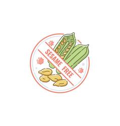 Sesame free food label for allergen information vector